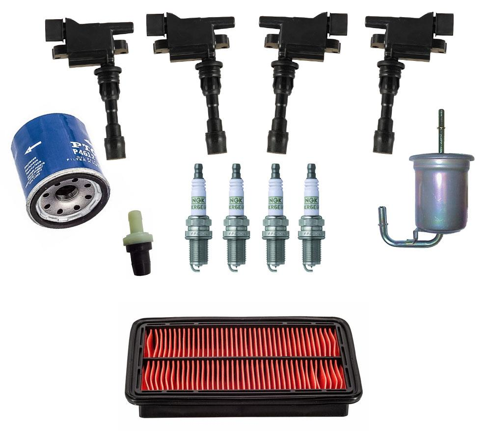Direct Ignition Coils Spark Plugs Air /& Oil Filters for Nissan Versa 1.6L 14-17