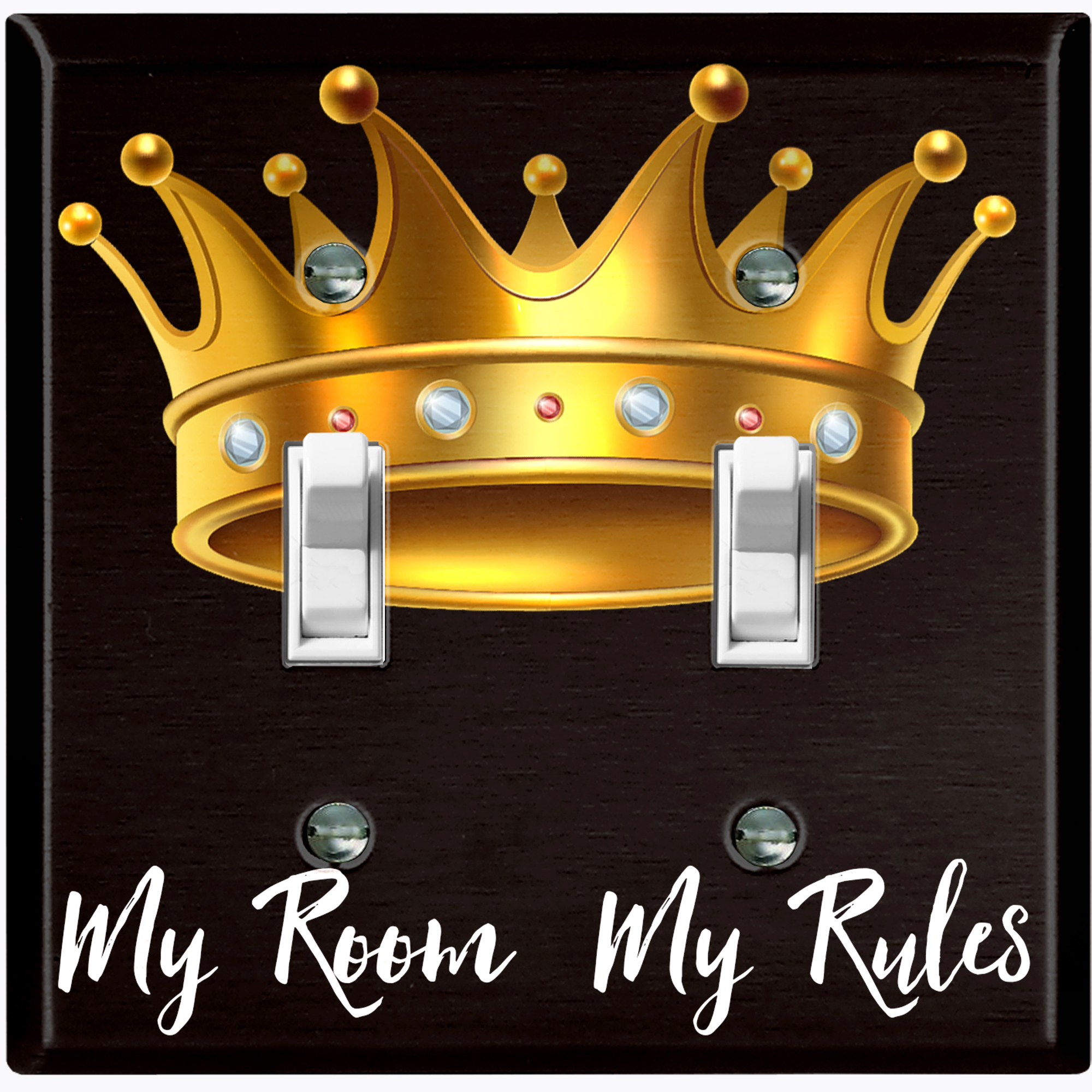 Metal Light Switch Plate Outlet Cover My Room My Rules Crown Double Toggle Walmart Com Walmart Com