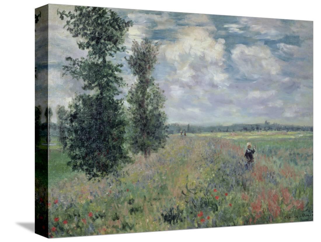 The Poppy Field Scenic Gallery Wrapped Canvas Print Wall Art By Claude Monet Walmart Com Walmart Com
