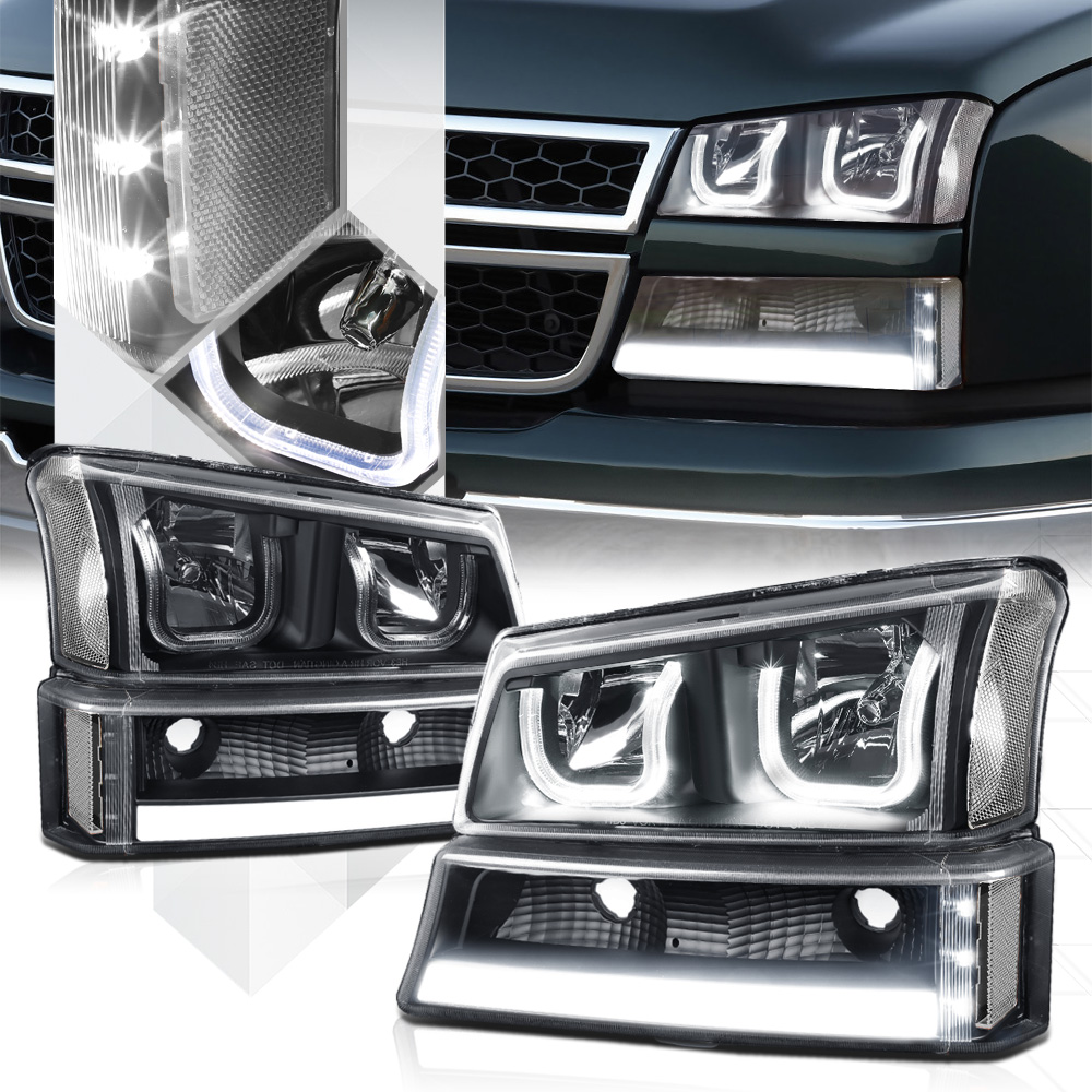 Black Dual U Halo Headlight Led Drl Clear Signal For 03 07 Chevy Silverado 04 05 06