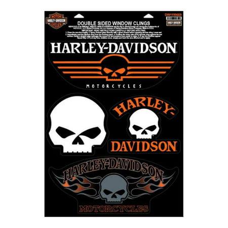 Harley-Davidson Willie G Skulls Window Clings, 4 Logos Per Sheet DW1199669, Harley (Logo Small Window Cling)