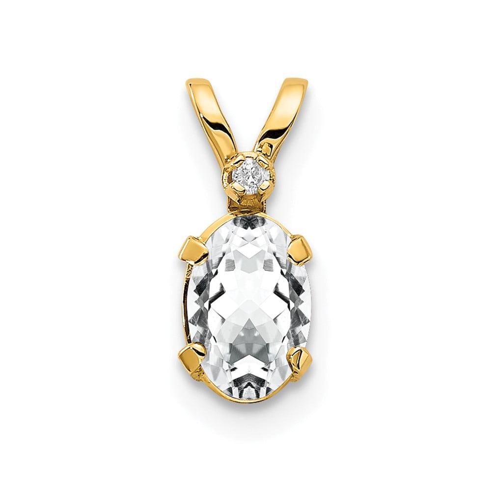 14k Yellow Gold 6x4 Oval Diamond & White Topaz Birthstone Pendant