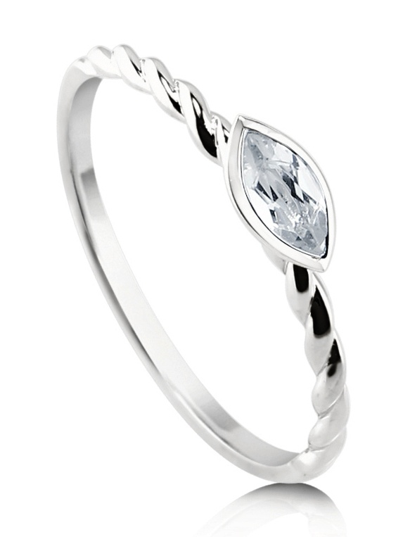 BERRICLE 10K White Gold Marquise Cut Topaz Solitaire Cable Promise Ring Size 4