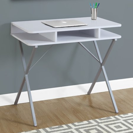 Monarch Computer Desk 31″L / White Top / Silver Metal
