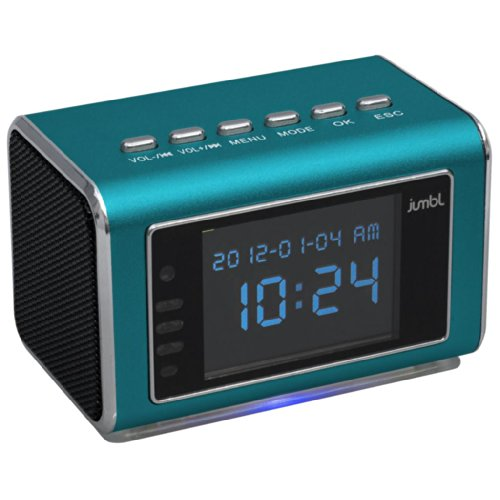 Jumbl Mini Hidden Surveillance Spy Nanny Camera Radio Clock with Motion Detection and Infrared Night Vision - Built-In Screen, Speaker, Micro SD Slot and AUX Line In - Blue