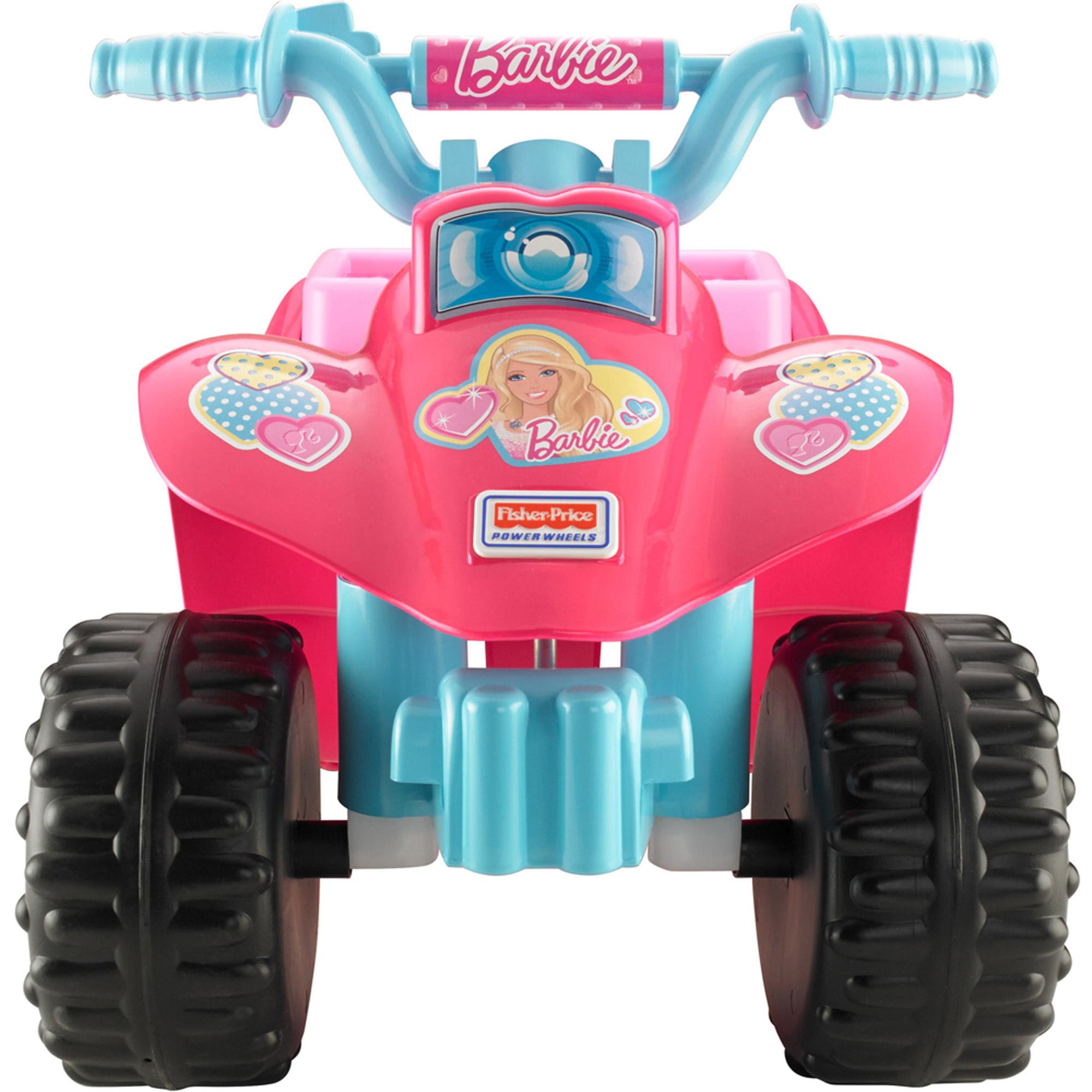 power wheels barbie princess lil quad 6 volt battery powered ride on walmartcom