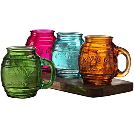 Circleware Family Multi-colored Glass Drinking Glasses Set, 26 Ounce, Set of 4, Mason Jar Beer Mug/cups Embossed Family, Limited Edition Glassware Drinkware Barware Jar Mugs](Multi Colored Drinking Glasses)