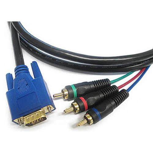 3 ft Foot VGA to RCA Component Video Cable Cord Adapter for TV, HDTV, projectors