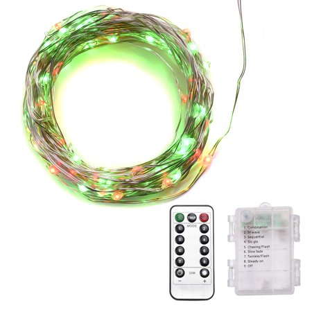 Abba Patio 32ft LED String Lights 8 Modes Remote Control, Battery Operated Dimmable Decorative Lights, Red & Green (Battery Operated Led String Lights)