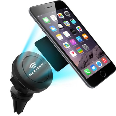 Fix A Phone Air Vent Car Magnetic Mount Cell Phone Holder with High Metal Inserts, 360 Degree GPS Holder, Vent Mount for Smartphones including iPhone 6, 6S, Galaxy S7, S6 Edge and More.
