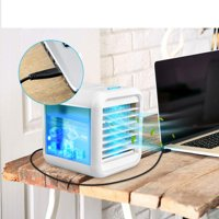 Ultra-Quiet Personal Air Cooler, USB Evaporative Coolers with Waterbox, Multifunctional Fan with LED Light and 3 Fan Speed, USB Charging, Suitable for Home Office Bedroom Kids