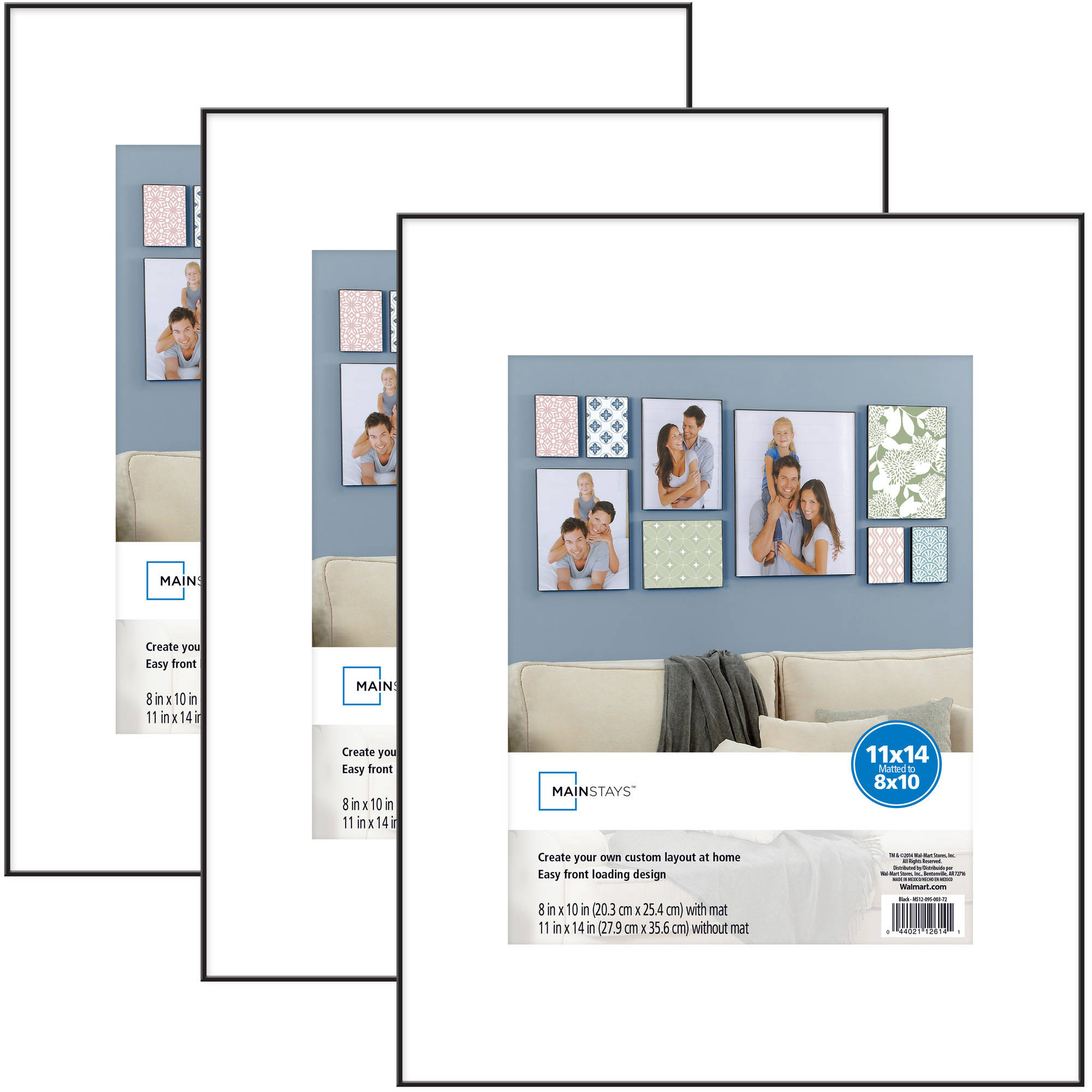 Mainstays 11x14 matted to 8x10 Format Picture Frame, Set of 3