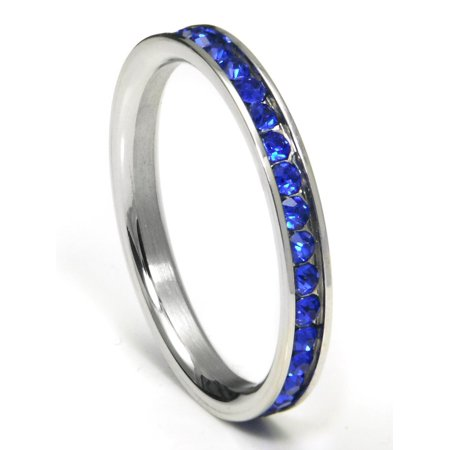 Platinum Sapphire Eternity Band (316L Stainless Steel Sapphire Blue Cubic Zirconia CZ Eternity Wedding 3MM Band Ring Sz)