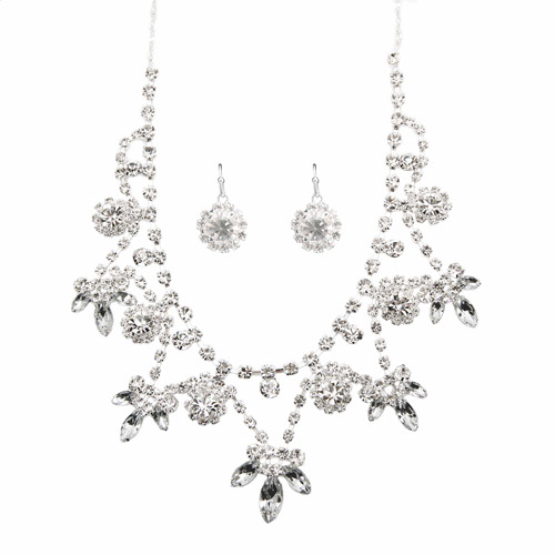 Silver Rhinestone Fashion Earring and Necklace Set