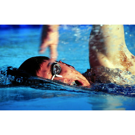 Peel-n-Stick Poster of Goggles Fitness Training Pool Water Male Swimmer  Poster 24x16 Adhesive Decal