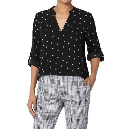 TheMogan Women's Snowflake Split Neck 3/4 Roll Tab Sleeve Pullover Shirt Henley Blouse