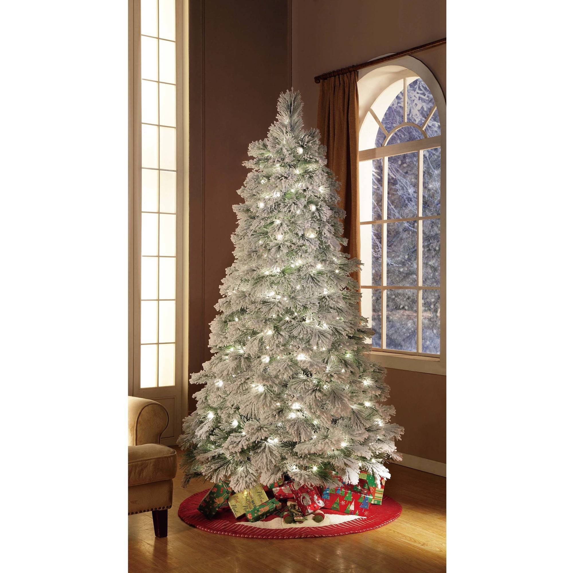 Holiday Time Artificial Christmas Trees Pre Lit 7.5u0027 Flocked Artificial Tree,  Clear Lights