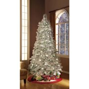 holiday time artificial christmas trees pre lit 75 flocked artificial tree clear lights - Pop Up Christmas Tree With Lights