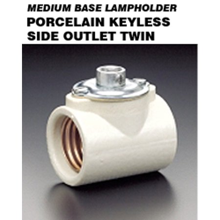 (Leviton 4010 Keyless Lampholder Incandescent Medium Base Side Outlet Twin Dual Socket 2-Terminal Screws - White)