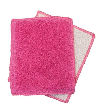 Janey Lynn Designs Bubble Gum Pink Shrubbies 5 x 6 Cotton & Nylon Washcloth