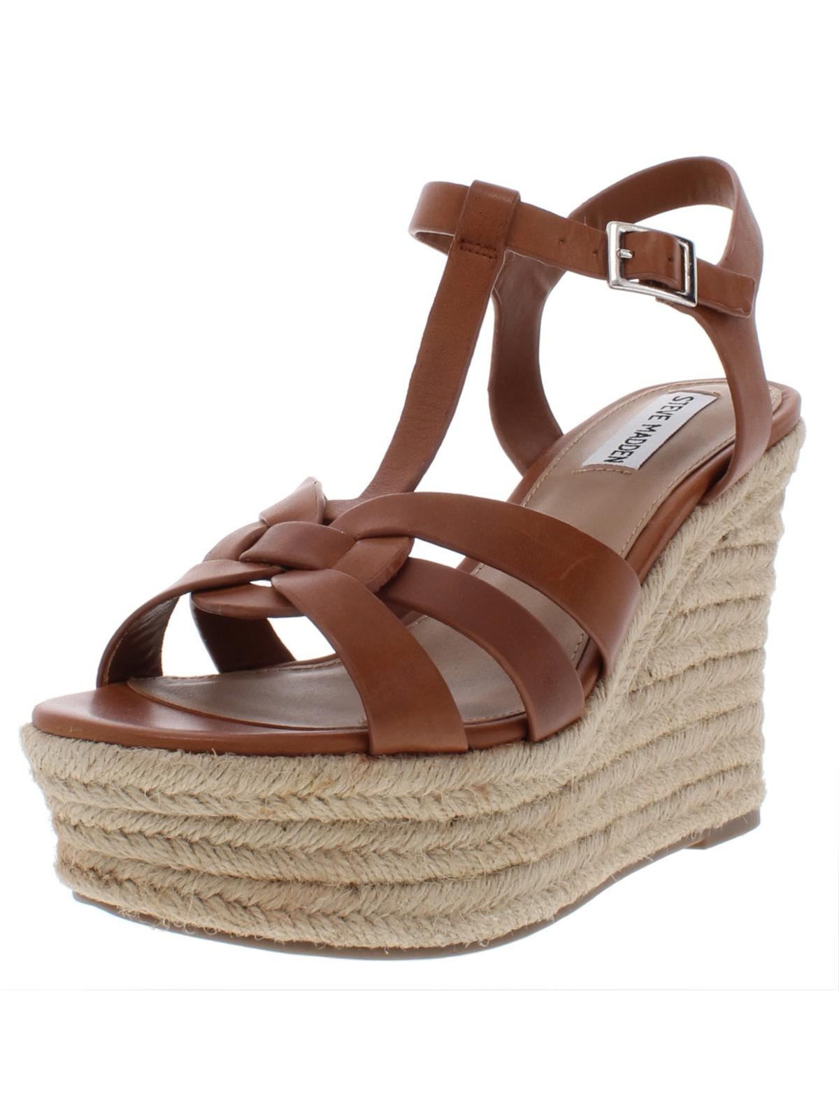 Steve Madden Womens Keesha Leather Strappy Espadrilles