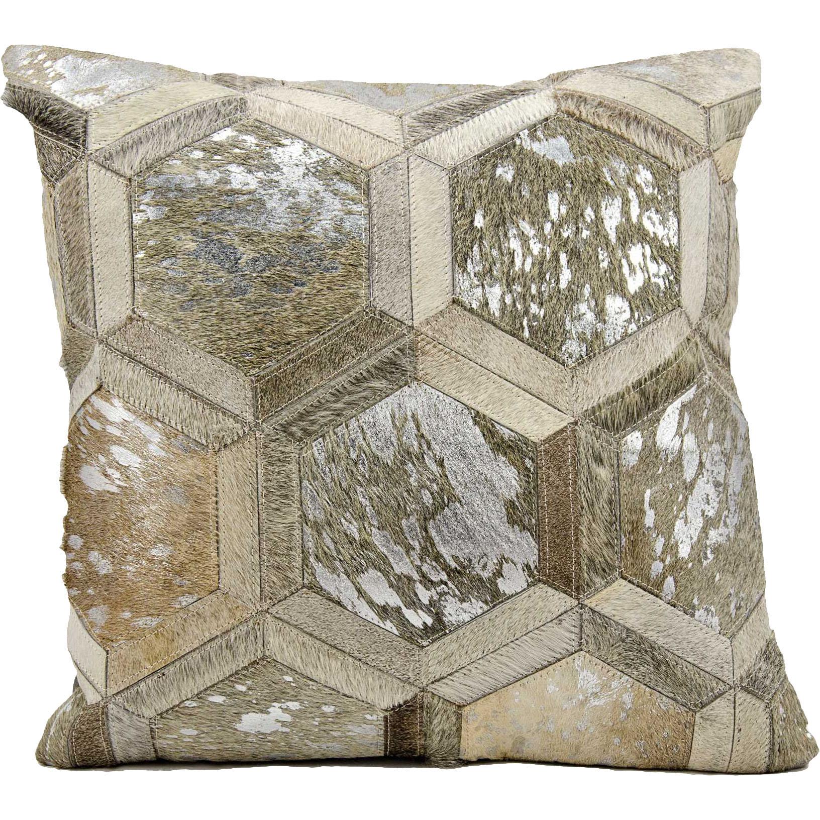 Michael Amini Metallic Hexagon Natural Hair on Hide Grey Silver Throw Pillow