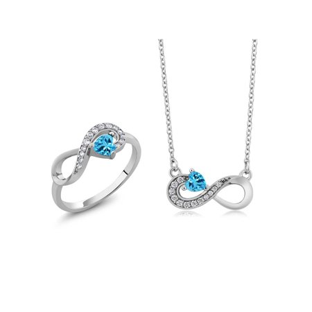 Birthstone Ring Pendants (0.91 Ct Heart Shape Swiss Blue Topaz 925 Sterling Silver Ring Pendant Set)