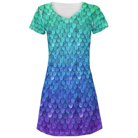 Halloween Mermaid Scales Costume All Over Juniors Beach Cover-Up Dress](Halloween Virginia Beach)