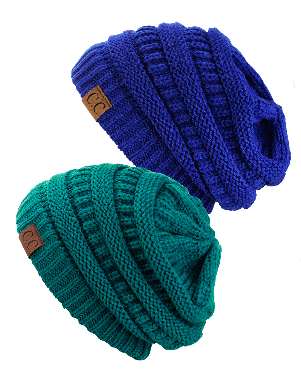 C.C Trendy Warm Chunky Soft Stretch Cable Knit Beanie Skully, 2 Pack Teal/Royal