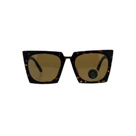 Womens 80s Funk Squared Rectangular Cat Eye Tempered Glass Lens Tortoise Brown (Brown Square Lens)