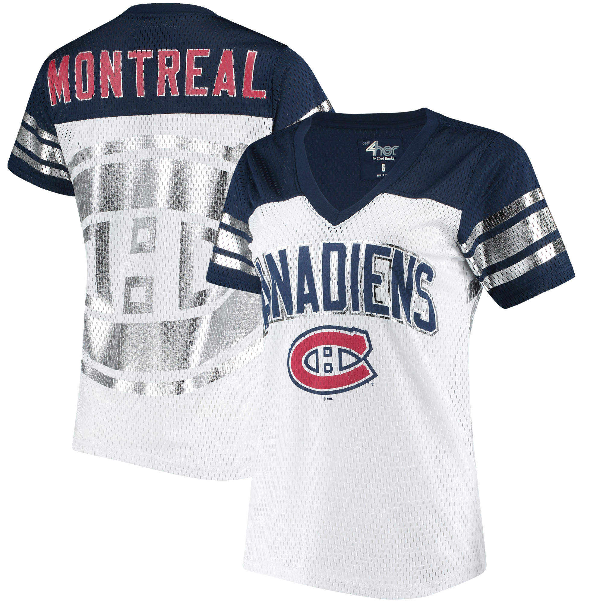Montreal Canadiens G-III 4Her by Carl Banks Women's All American V-Neck T-Shirt - White/Navy