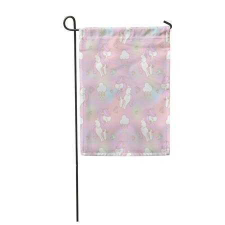 LADDKE Baby Cute Unicorn Wing on Rainbow Cloud and Diamond Garden Flag Decorative Flag House Banner 12x18 inch](Baby On Cloud)