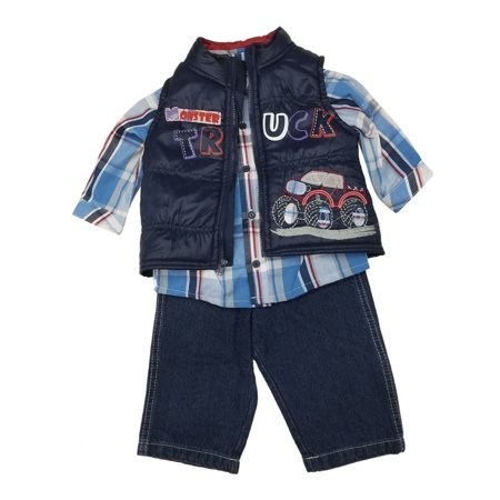 Little Rebels Baby Boys Navy Truck Vest Plaid Shirt 3 Pc Denim Pant Set