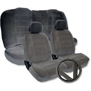 Solid GRAY Velour Low Back Cloth Seat Covers Fabric Steering Wheel Set For Toyota Corolla