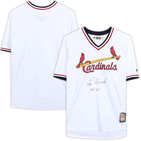 Lou Brock St. Louis Cardinals Autographed Majestic Cooperstown Collection White Replica Jersey with
