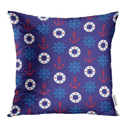 ARHOME Blue American Nautical Pattern Navy Anchor Background. Life Border Circle Clipart Pillow Case Pillow Cover 20x20 inch Throw Pillow Covers
