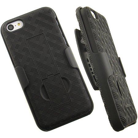 - NEW VERIZON OEM BLACK RUBBERIZED KICKSTAND HARD CASE COVER + BELT CLIP HOLSTER FOR APPLE iPHONE 5c