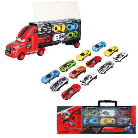 Set of 12 Alloy Metal Toy Cars with Portable Container Truck for Kid Boy Gifts