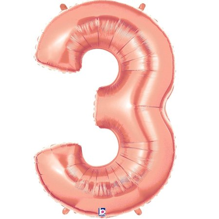 Rose Gold Mini Shape Air Filled Number 3 Foil Balloon 14
