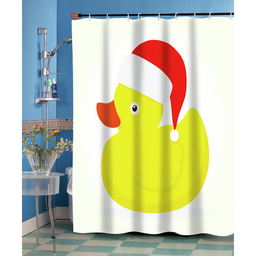 Carnation Home Fashions Christmas Ducky Shower Curtain