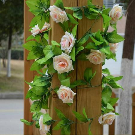 Fake Silk Rose Flower Vine 240cm Wedding Decoration New DIY Artificial Leaves Hanging Wedding Home Decor