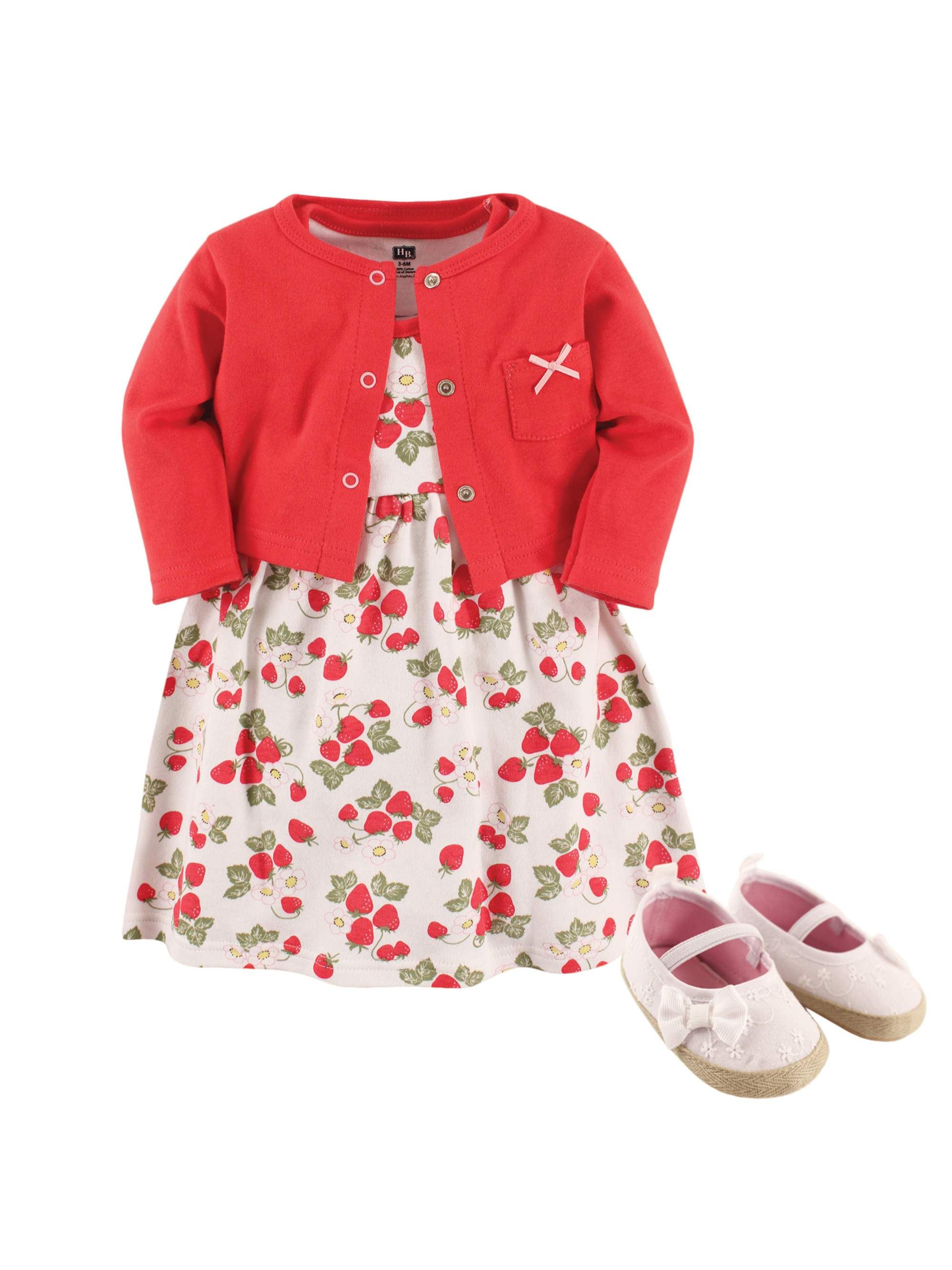 Girl Cardigan, Dress & Shoes, 3pc Outfit Set