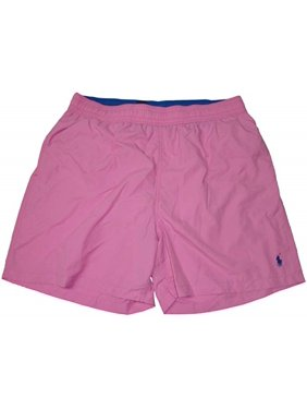 Polo by Ralph Lauren Men's Swim Trunks Pink with Navy Pony, Large