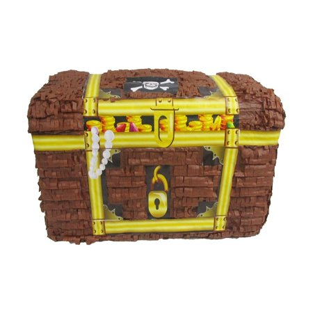 Treasure Chest Pinata, Brown & Gold, 16in x 11in (Pinatas For Boys)