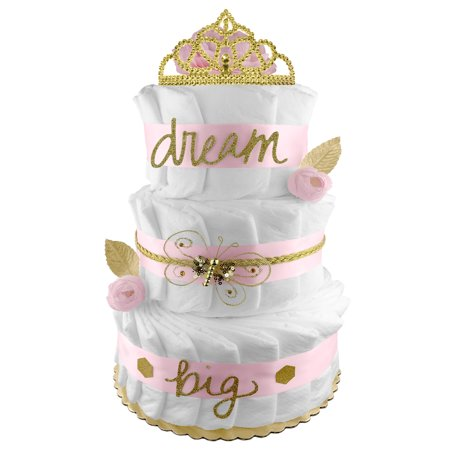 Pink And Gold Diaper Cake For A Girl Shabby Chic Newborn Gift