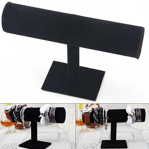 Heepo Velvet Faux Leather Bracelet Watch Jewelry T-Bar Display Stand Holder Rack