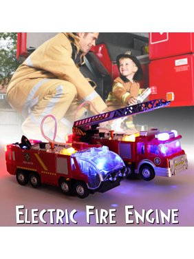 2 Types Firefighters Fire Engines Electric Universal Toy Car Can Water Sprey with Music Colorful Lights