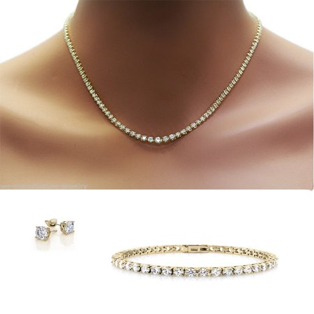 Trio Set Dazzling Diamond Crystal Necklace Bracelet And Earrings