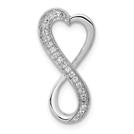 KIOKORI 14K White Gold Diamond Freeform Heart Chain Slide Pendant Pendant 1/10-Carat