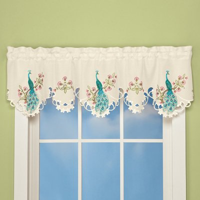 Floral Scallop - Embroidered PEACOCK Valance Cutwork Scalloped Floral Window Curtain Teal Pink